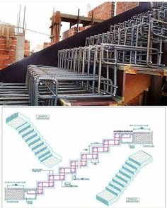 Stair Construction Instructions from Architects - Architecture & Design - Salvabrani Concrete Staircase, Staircase Design, Beton Design, Concrete Design, Stairs Architecture, Architecture Details, Civil Engineering Design, Escalier Design, Building Stairs