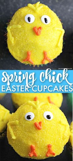 These Spring Chick Cupcakes are an adorable Easter dessert! These easy chocolate cupcakes are sure to be a favorite treat in your household. Perfect for spring, Easter brunch, or just any time! | www.persnicketyplates.com  #easter #cupcakes #easterdessert #dessert #easyrecipe #holidays