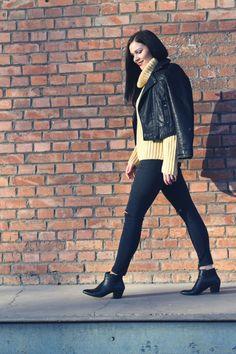 Kleidermädchen - Outfit mit Lederjacke sweater - stefanel   jacket - topshop   jeans - topshop   shoes - zign
