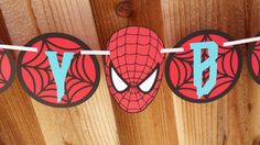 Spiderman Birthday Banner Spiderweb Birthday por SoleilsPapeterie