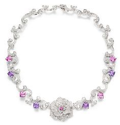 Piaget Rose - Limelight Garden Party necklace in 18K white gold set with 463 brilliant-cut diamonds (approx. 17.10 cts), 1 round pink sapphire (approx. 0.29 ct), 4 cushion-cut pink sapphires (approx. 9.31 cts) and 4 cushion-cut violet sapphires (approx. 10.31 cts).