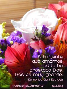 """CONCIENCIA DIAMANTE blog: """"Si la gente que amamos nos la ha prestado Dios, Dios es muy grande"""".  Doménico Cieri Estrada  ¡Gracias!  C.T.M.A.Y.A.P.A.D.P.A. ~ 09.11.2014  https://www.facebook.com/Conciencia.Diamante"""