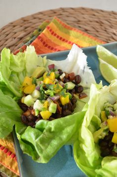 Black Bean Lettuce Wrap Tacos with Mango Avocado Salsa Recipe : based off the Nutritarian Diet.