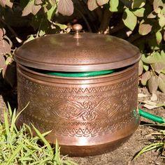 Floral Hammered Copper Hose Pot With Lid