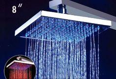 "Alfi Brand LED5001 8"" Square Multi Color LED Rain Shower Head"