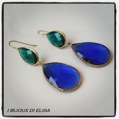 Earrings with turkish crystal: simply smart! #blue #green #verde #blu #earrings #orecchini #handmade #handmadejewels #handmadeearrings #bijoux #bigiotteria #drop #goccia #artigianato #ibijouxdielisa