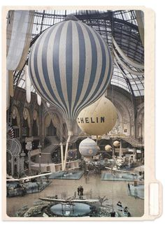 The first air show at the Grand Palais in Paris, France. September 30th, 1909. Photographed in Autochrome Lumière