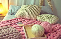 Knitting, Crochet, Weaving and Macrame Craft Kits by Wool Couture Giant Knitting, Knitting Wool, Wool Yarn, Knitted Blankets, Merino Wool Blanket, Extreme Knitting, Loom Weaving, Yarn Needle, Wood Turning