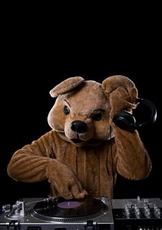 Bear Costume DJ with Turntable and Headphones