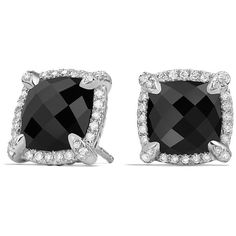 David Yurman Chatelaine Pave Bezel Stud Earring with Black Onyx and... (20,435 EGP) ❤ liked on Polyvore featuring jewelry, earrings, apparel & accessories, black onyx, pave diamond earrings, diamond stud earrings, post back earring, pave jewelry and diamond earrings
