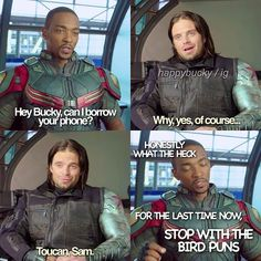 Bucky and Sam, Marvel, we need this in a movie. Marvel Funny, Marvel Memes, Marvel Dc Comics, Marvel Avengers, Funny Avengers, Team Cap, Dc Movies, Bucky Barnes, Winter Soldier