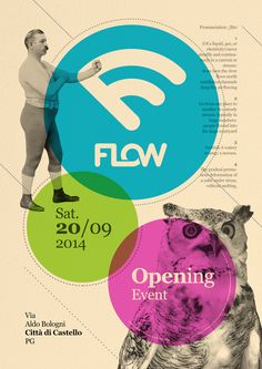 FLOW. Logo, flyers and posters design for a new club in Città di Castello (PG).