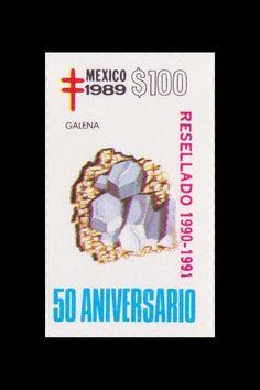Sello: Minerales. Pais: México. Año: 1989 - 50 aniversario. Valor 100 pesos mexicanos (1 peso mexicano = 0,0452 €). Descripción: GALENA.