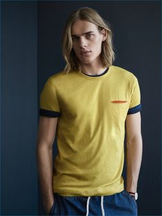 Ton Heukels sports a contrast pocket tee from YMC x River Island collection.