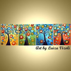 Original moderne Fantasy-abstrakte Bäume Landschaft große Acryl-Malerei-Bäume und Jahreszeiten in Pastell Farben-Kostenloser Versand uns  Das Angebot
