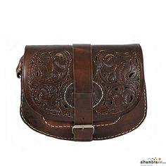 Bolso hebilla grabado marrón