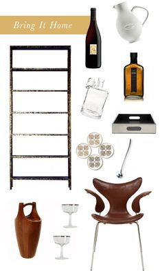 instead of a bar cart, i like the idea of an open shelf