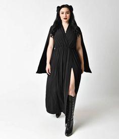 Plus Size Black Long Split Sleeve Cape Maxi Dress