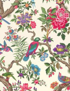 Bird prints and florals - Fontainebleau wallpaper by Cole  Son