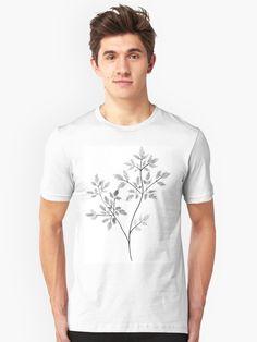 Chervil in Black and White Unisex T-Shirt   #art #blackandwhite #black #and #white #chervil #herbs #aesthetic #artist #artwork #arte #pale #boho #indie #hipster #vintage #mensfashion #menswear #men #fashion #tshirt