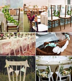 Wedding Chair Decor Ideas. Left to right: Lisa Lefkowitz via Snippet and Ink / Meg Smith & Associates Kristen L via Snippet and Ink / Amanda Rae Events / Kate Harrison via Inspired by This / Megan Dailor via The Sweetest Occasion / A Fete Beckons via Etsy / Halberg Photographers via Santa Barbara Chic