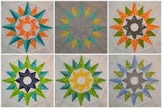 "I'm digging these ""Kaleidoscope"" blocks made by Jen Johnston. I can't believe each block has 88 pieces though! (Link to Kaleidoscope and other free patterns from the Compass Collection by Quilting on the Square available after click-thru to Johnston's flickr page.)"