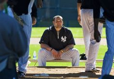 AP: New York Yankees pitcher Joba Chamberlain, who is recovering from Tommy John surgery, watches a bullpen session Joba Chamberlain, Yankees Spring Training, Yankees Pitchers, Watch Photo, New York Yankees, Little Boys, Husband, Baseball, Surgery