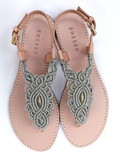 Silver Grey Macrame and PinkLeather Sandal / Summer by Sheeso                                                                                                                                                                                 Más