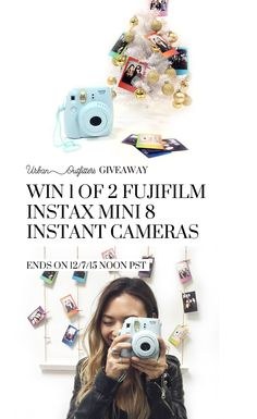 Enter to win 1 of 2 Instax Mini 8 Instant Cameras in our giveaway with Urban Outfitters! Snap your photos in style this holiday season and personalize your decor! Get one of the most wanted gifts for Christmas! Giveaway ends on 12/7 at noon PST