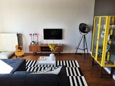 Living room. #stockholm #ikea #HAY #HAYtray #living #room #sofa #interior #design #carpet #yellow #grey #black #white