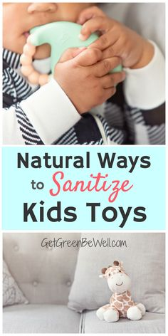 Sanitize your baby's toys without toxic chemicals. These 11 natural ways to clean kids toys will get rid of germs, viruses, drool and allergens for happy, healthy playtime. #cleaninghacks #cleaningtips #sanitize Homemade Cleaning Products, Natural Cleaning Products, Cleaning Toys, Cleaning Hacks, Green Cleaning, Spring Cleaning, Baby Toys, Kids Toys, Natural Disinfectant