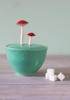 mushroom sugar bowl adds whimsy to a tea party