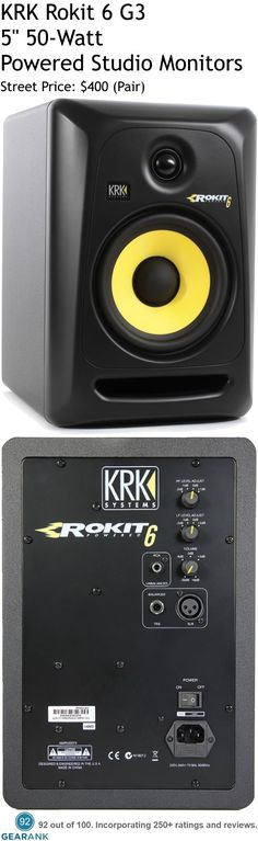 """KRK Rokit 6 G3 50W 5"""" Powered Studio Monitors. 6"""" Kevlar/aramid composite woofer 1"""" Soft Dome HF tweeter, Bi Amplification: LF 48W 