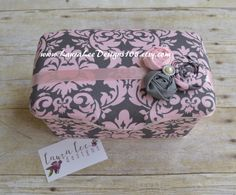 Pink and Gray Dandy Damask with Rolled by LauraLeeDesigns108