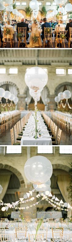 love these jumbo balloons lining the wedding reception tables - so gorgeous!  ~  we ❤ this! moncheribridals.com