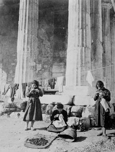 Refugees in front of the ruins of the temple of Theseus.Library of Congress Prints and Photographs Division Washington, D. Greek History, American Red Cross, Library Of Congress, Historical Photos, Archaeology, Old Photos, Temple, Asia, World