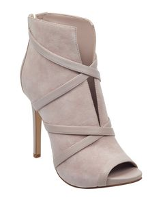 ttElevate your look with this pair of peep-toe booties, featuring an allover faux-suede design, faux-leather crisscross details and a back zipper closure. High Heel Boots, Bootie Boots, Shoe Boots, High Heels, Tan Boots, Dr Shoes, Me Too Shoes, Shoes Heels, Peep Toe Heels