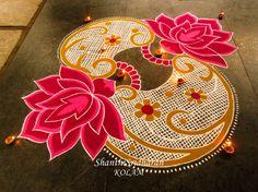 #kolam#pink#lotus Rangoli Ideas, Rangoli Designs Diwali, Diwali Rangoli, Rangoli Borders, Rangoli Border Designs, Simple Rangoli Designs Images, Beautiful Rangoli Designs, Art N Craft, Diy Art