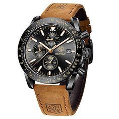 BENYAR - Stylish Wrist Watch for Men, Genuine Leather Strap Watches, Perfect Quartz Movement, Waterproof and Scratch ...