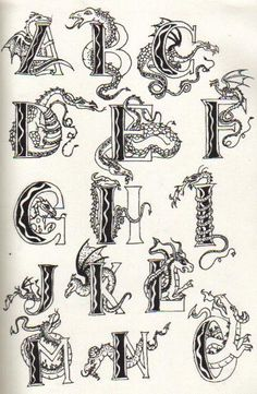 Dragon letters by Moosetracks on DeviantArt Alphabet Letters Design, Hand Lettering Alphabet, Fancy Letters, Calligraphy Alphabet, Calligraphy Fonts, Letter Art, Monogram Letters, Creative Lettering, Graffiti Lettering