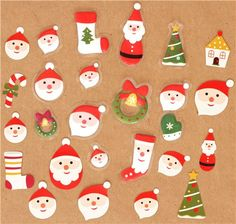 Christmas sponge sticker sack with Santa Claus pouch