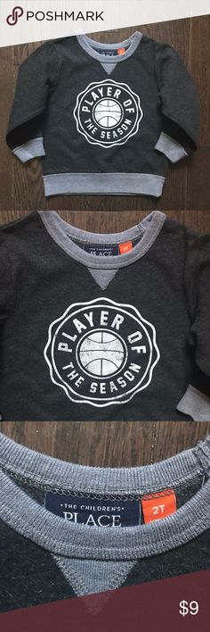 2T Boys Children's Place Gray Graphic Sweatshirt *Gently used, great condition *Clean, stain free  *Smoke and pet free *No holds/trades Children's Place Shirts & Tops Sweatshirts & Hoodies