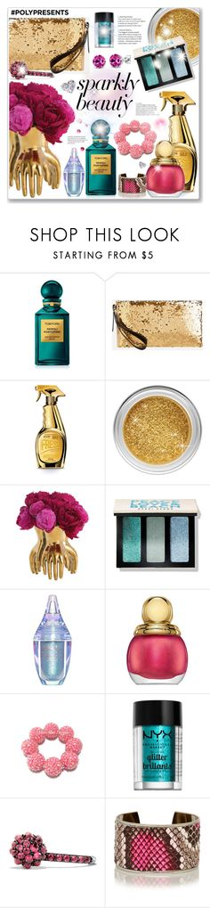 """#PolyPresents: Sparkly Beauty"" by hellodollface ❤ liked on Polyvore featuring beauty, Tom Ford, Ashley Stewart, Moschino, Arteriors, Bobbi Brown Cosmetics, Lime Crime, Christian Dior, NYX and David Yurman"
