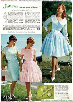 50s Inspired Fashion, 1960s Fashion, Vintage Fashion, Vintage 1950s Dresses, Vintage Outfits, Mode Vintage, Vintage Ladies, Montgomery Ward, Christmas Catalogs