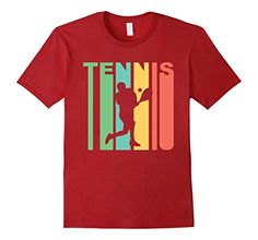 Men's Retro 1970's Style Tennis Player Silhouette Sports T-Shirt Large Cranberry -- For more information, visit image link.