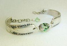 diy spoon ring | Silver Spoon Bracelet, Talisman 1938, Peridot Swarovski ... | DIY Jew ...