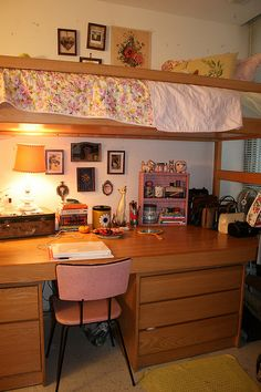 dorm at an unspecified art school in Philadelphiathe loft bed is a very efficient use of space!
