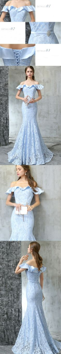 Lace Prom Dresses Off-the-shoulder Trumpet/Mermaid Sexy Prom Dress/Evening Dress JKL422#annapromdress #prom #promdress #evening #eveningdress #dance #longdress #longpromdress #fashion #style #dress #sexy #Mermaid #lightskyblue