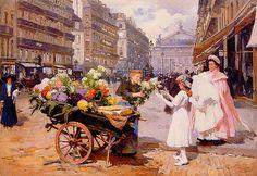 Louis Marie de Schryver A Flower Seller in the Avenue de L'Opera