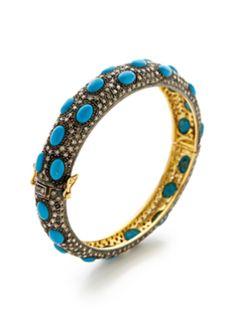 Champagne Diamond & Turquoise Bangle Bracelet from Amrapali Fine Jewelry on Gilt